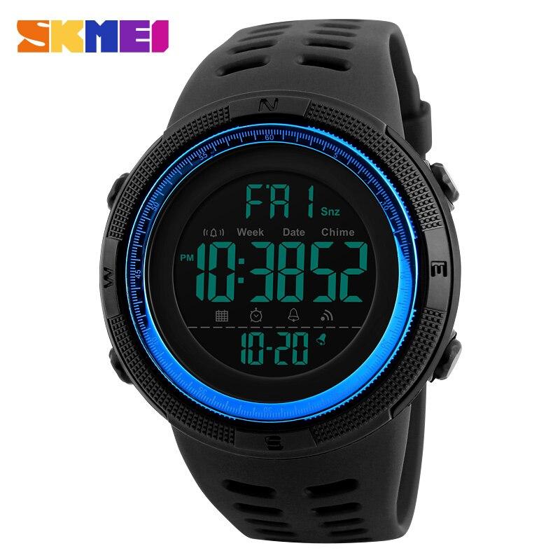SKMEI хронограф Спортивные часы Для мужчин силиконовые обратного отсчета LED цифровые часы Военное Дело Водонепроницаемый Наручные Часы Будил…