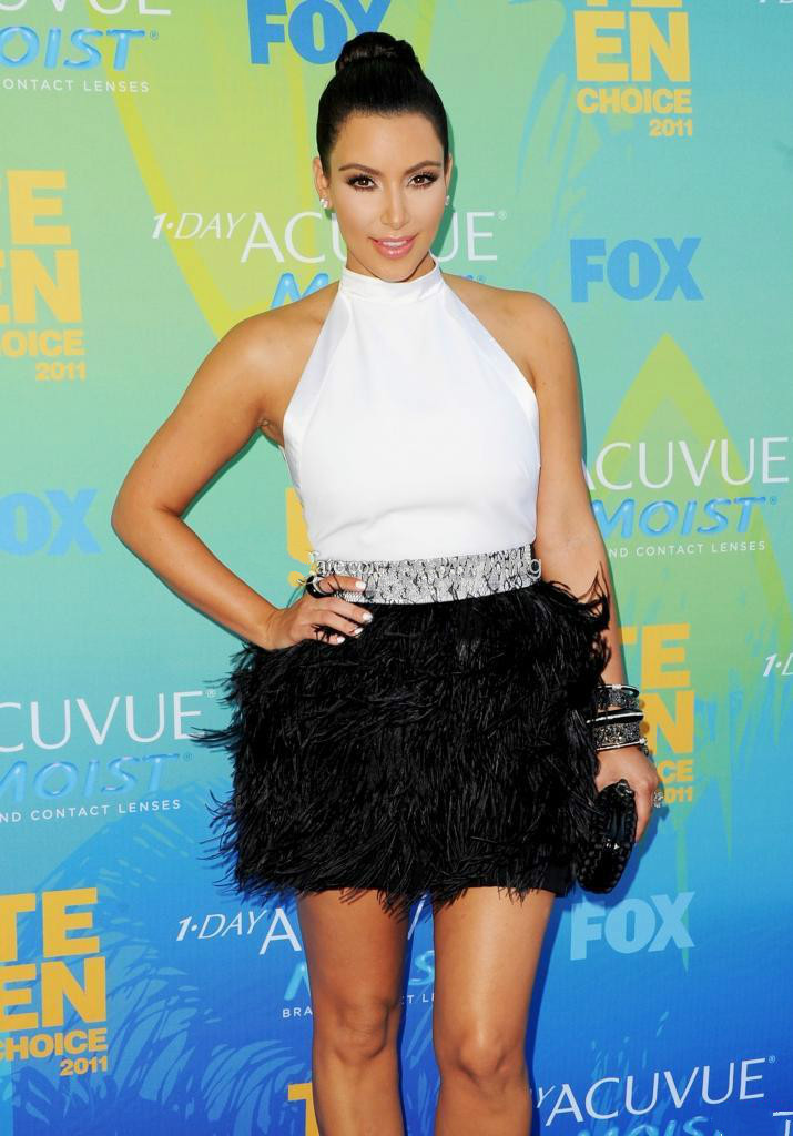 2015 Feather Prom Dresses Kim Kardashian Black and White Ostrich ...