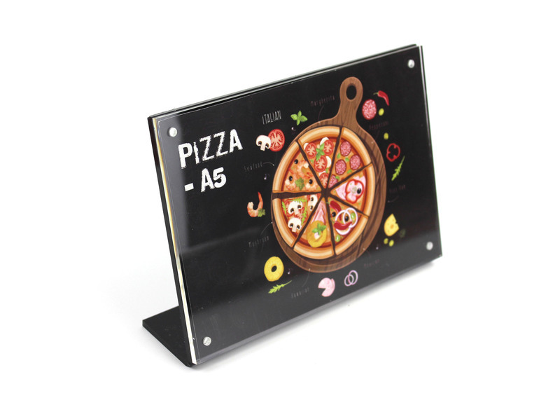 21*14.8CM A5 Transverse L Black Acrylic Magnetic Label Holder Stand Photo Frame Menu Card Stand Advertising Poster Tag Display