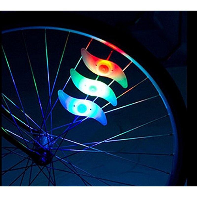 AKDSteel 4 Pcs  Bicycle Spoke Light Wind Fire Wheels Silica Gel Spoke Light Steel Wire Lamp Mountain Bike Wheel Light