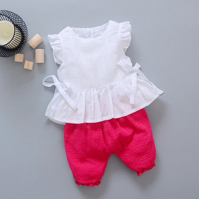 2019 New Summer Baby Girls Clothing Children Lace T-Shirt Shorts 2pcs/Sets Infant Suit Comfortable Cotton Kids Casual Tracksuits 3