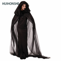 2017 Women Wandering Soul in the Night Size M 2XL Halloween Costumes Woman Ghost Party Role Playing Witch Cape Black Dress