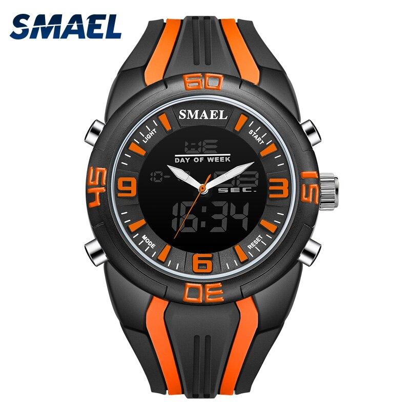 SMAEL Sport Quartz Montres De Mode Alliage Horloges Hommes Numérique relogio masculino LED Montres Double 1057 Étanche Hommes Montres