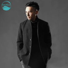 LinenAll men's clothing wool outerwear male autumn and winter casual wool jacket male loose linen jacket male chinese style QF
