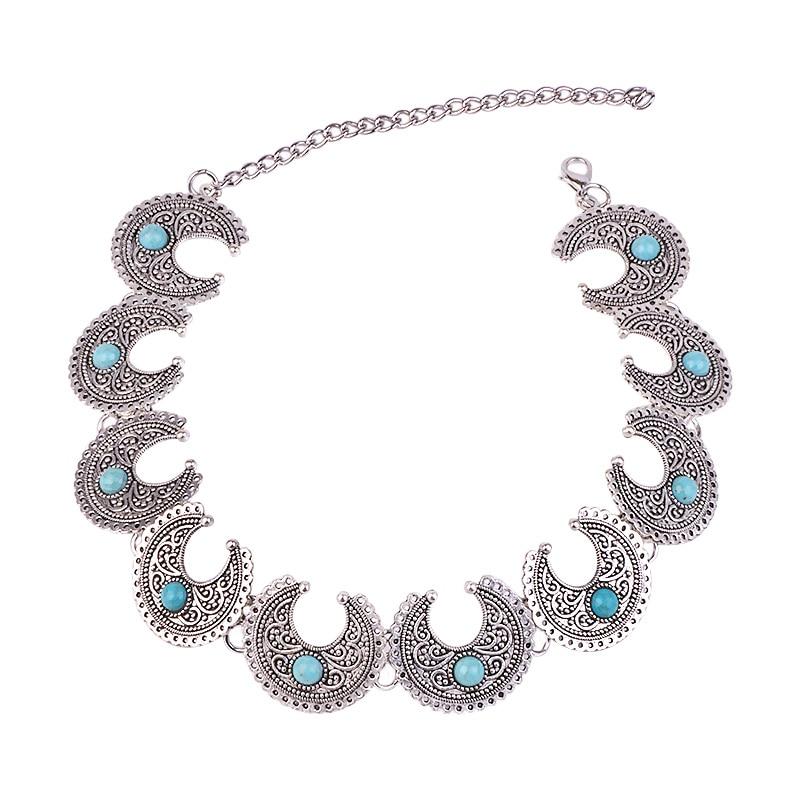 Olsen Twins Vintage Boho Choker Necklace Gypsy Antique Silver Blue Stone Chokers Necklace Women Street Fashion