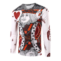 New Arrival Men 3D Fashion Poker Heart K T-shirt Long Sleeve male Casual Slim fit O Neck T Shirt High Quality The King Pattern
