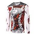 Nuevos Hombres de la Llegada 3D Fashion Poker Corazón K Camiseta de Manga Larga hombre Casual Slim fit O Cuello de la Camiseta de Alta Calidad Del Patrón Rey
