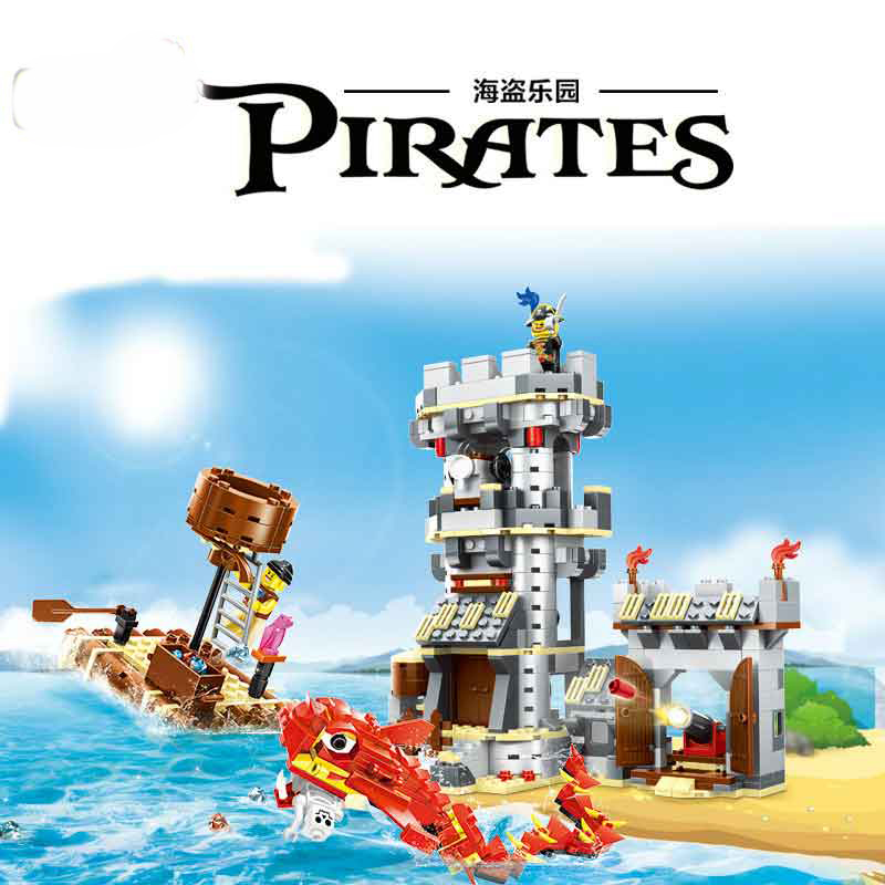 Lepin 54041 744pcs Pirate Series Monster Attack Building Blocks Compatible with Legoe Pirates Caribbean Kid Toys For Gift black pearl building blocks kaizi ky87010 pirates of the caribbean ship self locking bricks assembling toys 1184pcs set gift