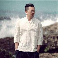 New Retro Mens V Collar Linen Three Quarter Sleeved T Shirt Summer Original Top Cotton Linen