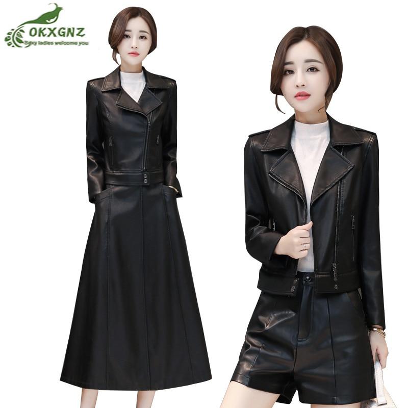2019Autumn Winter New   Leather   Jacket Female Slim Long outwear Plus Cotton Warm Parkas Women Sheepskin Windbreaker coat plus size