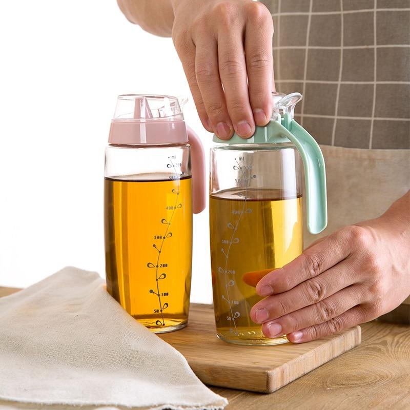 Écailles de verre fritte avec grande échelle bouteille d'huile fournitures de cuisine étanche installé vinaigre réservoir