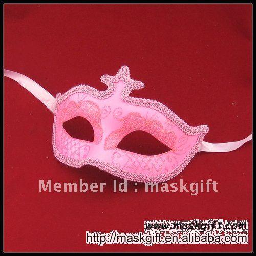 Популярная 6,5 дюймовая розовая Дамская маска, Венецианская маска, маска на Хэллоуин