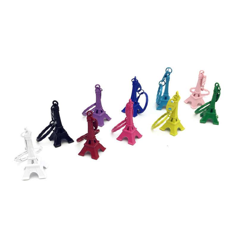 Nova moda Colorida Torre Eiffel Torre Homens Saco anel chave Do Carro Chaveiro Para As Mulheres Do Vintage Jóias Presentes De Casamento Lembrança Trinket