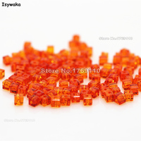 Isywaka 1980pcs Cube 2mm Orange Red Color Square Austria Crystal Bead Glass Beads Loose Spacer Bead