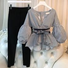 2 Pieces Sets Plus Size Women 2019 New Lantern Sleeve Shirts Elegant Ladies Striped Pants Suit Tops And Split Pencil Pant