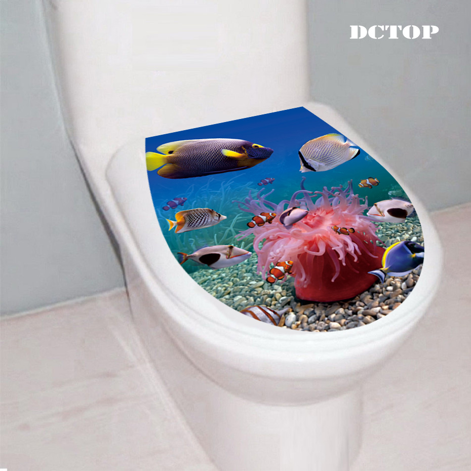 3D Clownfish dolphin coral Underwater World Toilet Seat Wall Stickers Landscape Decal Vinyl Home Decor Bathroom WC sticker decor in Wall Stickers from Home Garden