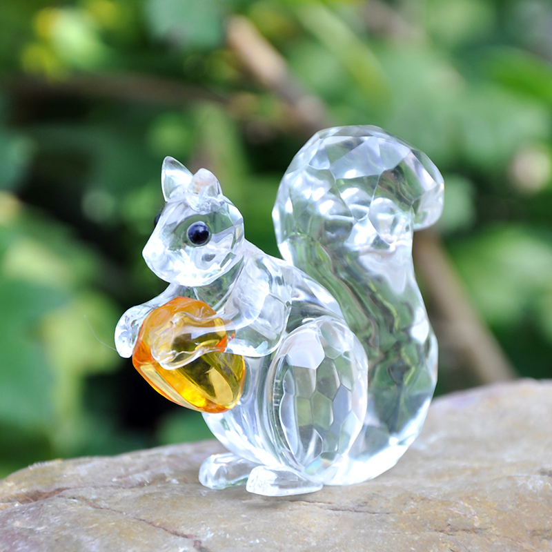 H&D 1.9inch Crystal Animals Squirrel Collectible Figurine Paperweight Table Centerpiece Ornament