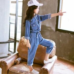 Image 4 - Abesay Denim odzież dziecięca koszula z długim rękawem + spodnie 2 szt. Casual Girls Clothes Set odzież zimowa nastoletnie dziewczyny 6 8 12 rok