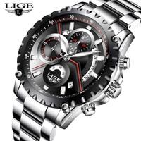 Hot Sale LIGE Men Watch Top Brand Luxury Male Clock Waterproof Sport Quartz Chronograph Military Wrist
