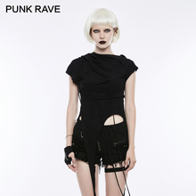PUNK RAVE Punk Rock Hooded Irregular Stitching Women T-shirt Gothic Style Cotton Short Sleeve Black Tops Tees Casual Sweatshirt