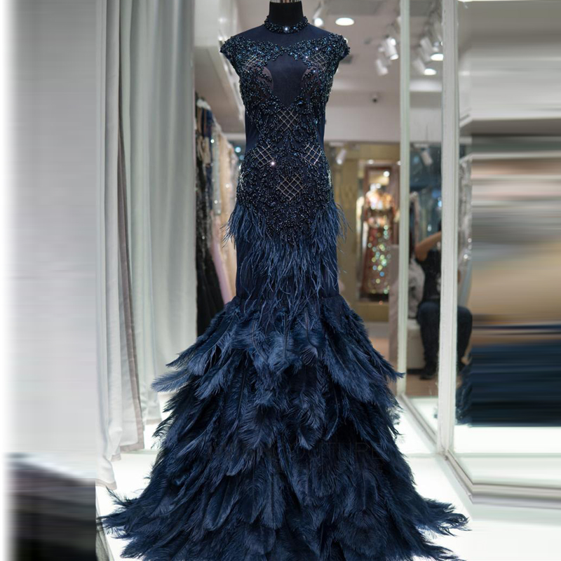 Luxury Feather Navy Blue Mermaid   Evening     Dresses   2019 New Design Crystal See Through High Neck Dubai Formal Gowns BLA60734