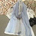 Мода весна и лето шарф люксовый бренд малого и свежий хлопок полосатый шарф женщин этническом стиле солнцезащитный крем платок