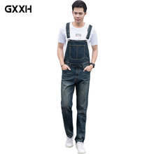 Men's Loose Large size piece trousers Denim Overalls 2018 New Spring Korean version of the pants Fashion Pocket Denim Overalls
