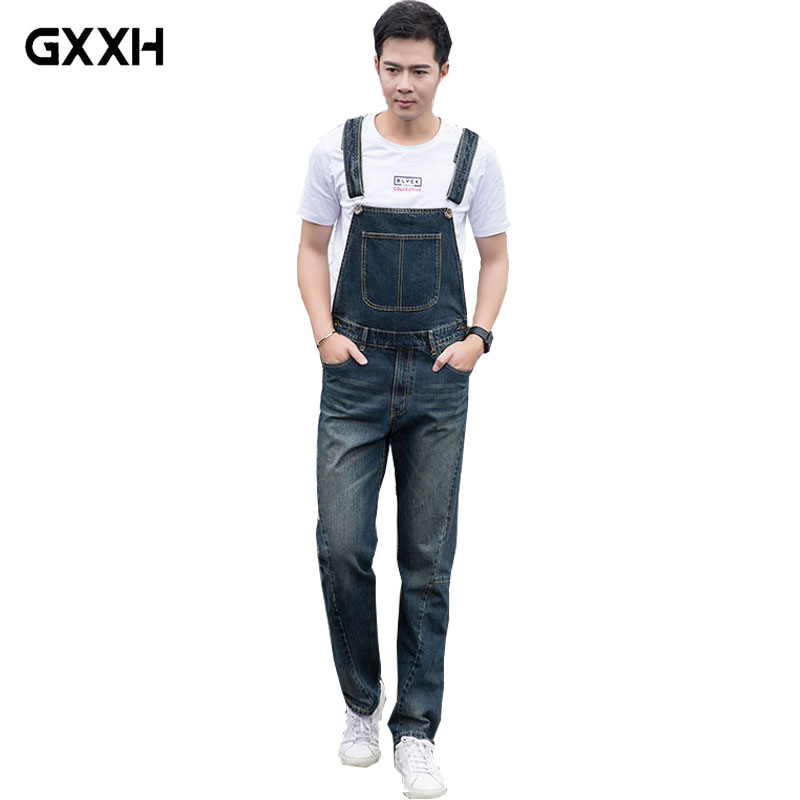 Men s Loose Large size piece trousers Denim Overalls 2018 New Spring Korean version of the