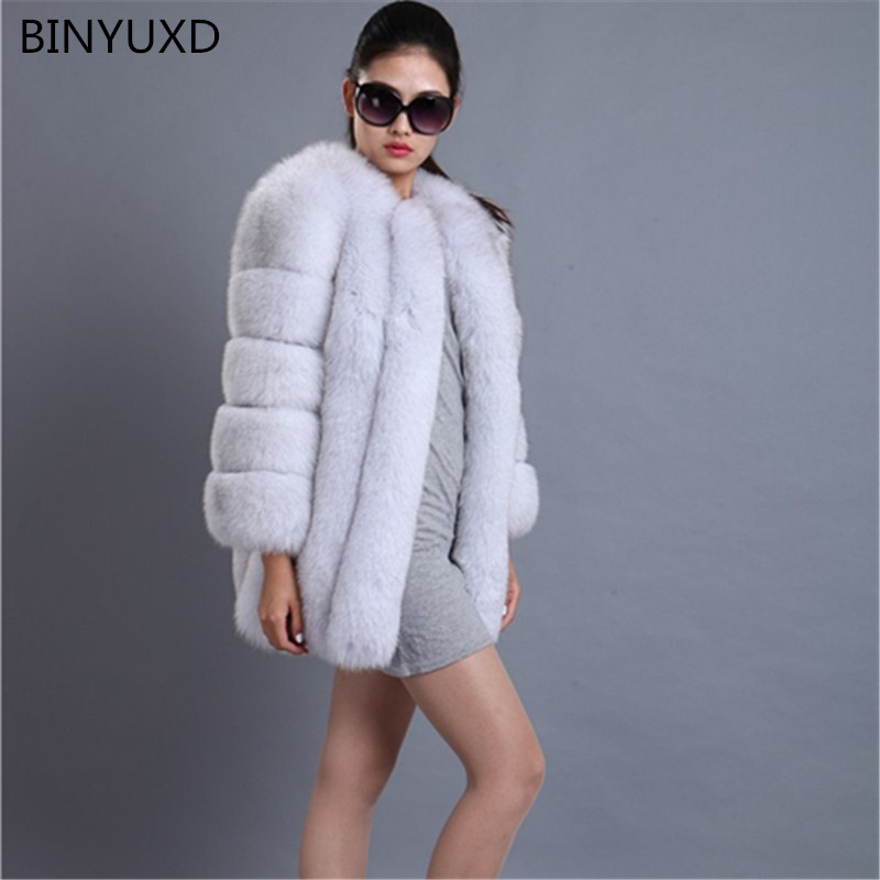 BINYUXD Hot New Fashion High quality Fox Fur Coat Women Winter coat Medium Long Luxury Fur Coat Female Jacket Overcoat Mink Coat