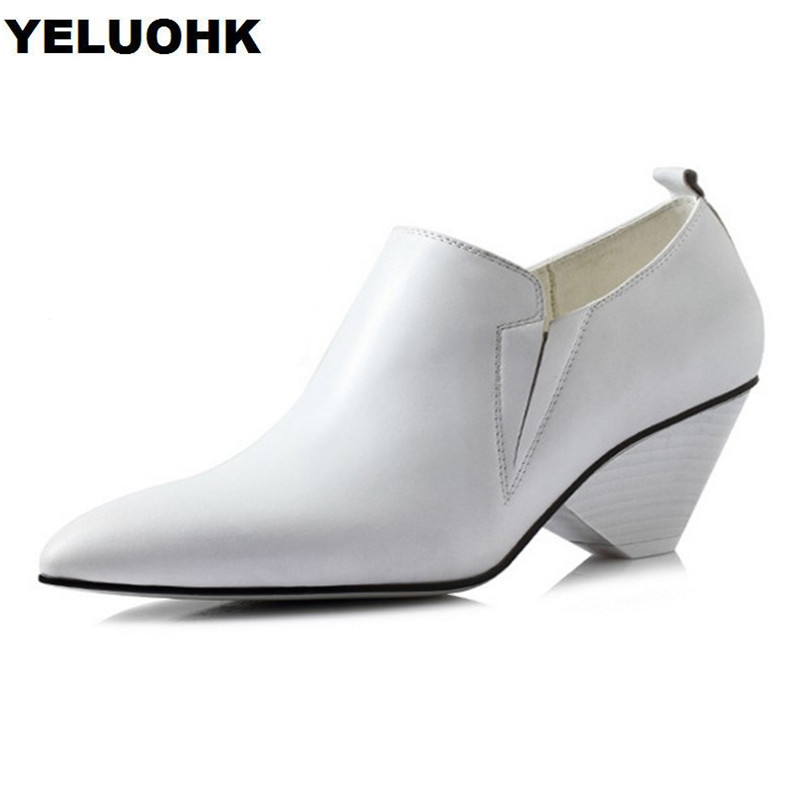 2018 Spring New Women Genuine Leather Shoes Strange High Heels Elegant Shoes Woman Pump Pointed Toe Office Lady Shoes