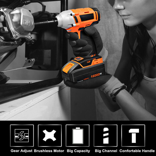 Cordless Electric Impact Wrench Drill 320n M 20v 16000mah Battery Lithium Ion Brushless Tool Nut Torque Set