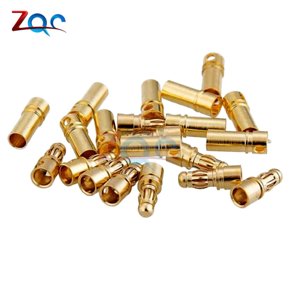 20pcs/lot 10Pairs <font><b>3.5mm</b></font> Gold Plated Male Female <font><b>Bullet</b></font> Banana Connector <font><b>Plug</b></font> For ESC Battery Motor image