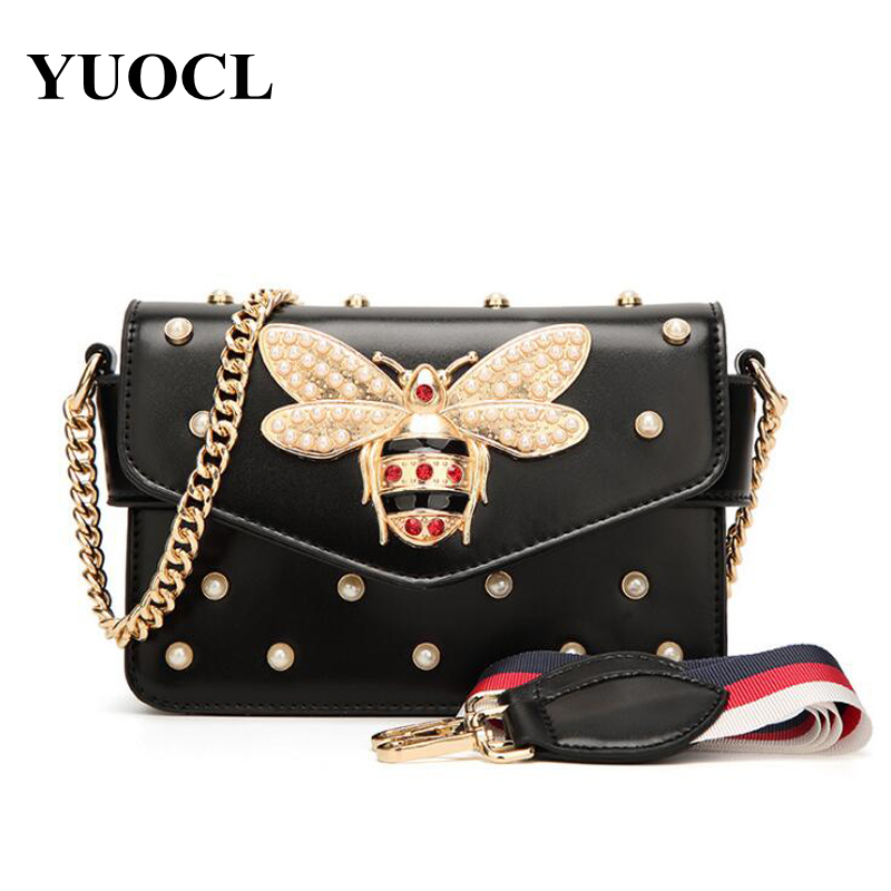 New Bee Pearl Women Crossbody Messenger Bags Shoulder Leather Handbags For Famous Luxury Brand Designer Bolsa Feminina Sac 2018