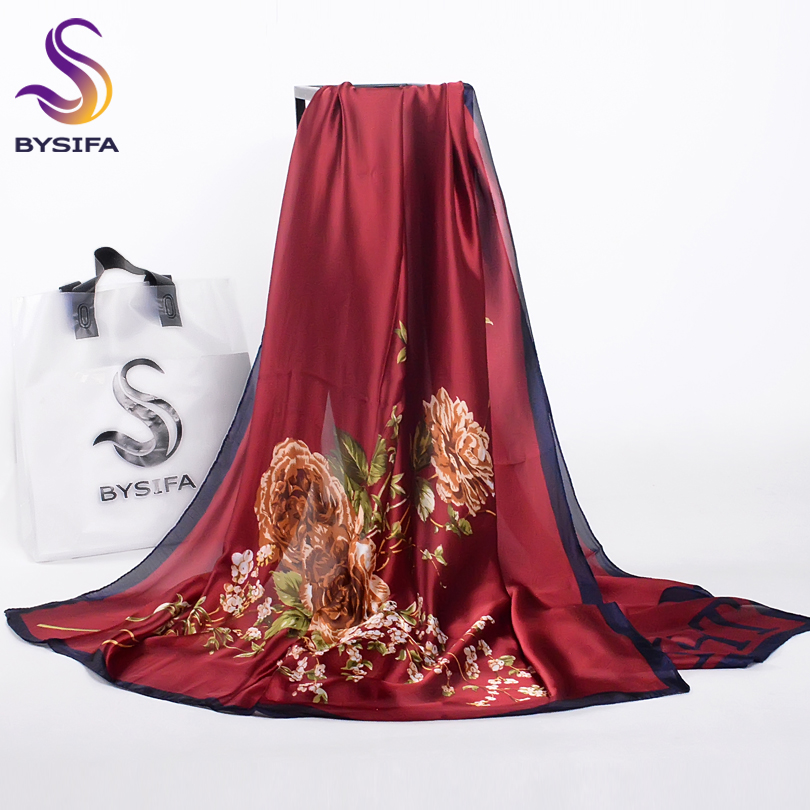 [BYSIFA] Women Scarves Fall Winter Oversized Luxury Brand Trendy Chinese Silk Long Scarf Shawl Wrap New Wine Red Neck Head Scarf