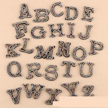 1PC Rhinestone English Alphabet Letter Mixed Embroidered Iron on Patch for Clothing Badge Paste for Clothes Bag Pant Shoes image