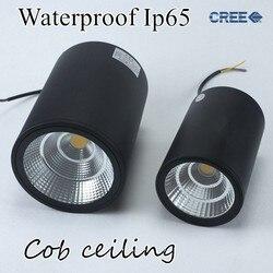 LED wodoodporny Ip65 sufitowy COB na zewnątrz montowane na powierzchni 12W 20W 30W AC85-265V ciepły biały LED typu downlight Hotel villa oświetlenie domu