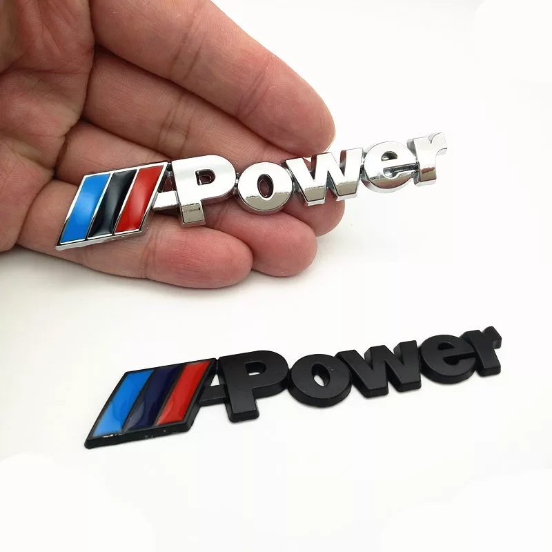 1PCS M Power Motorsport Metal Logo Car Sticker Rear Trunk Emblem Grill Badge For BMW E46 E30 E34 E36 E39 E53 E60 E90 Car Styling