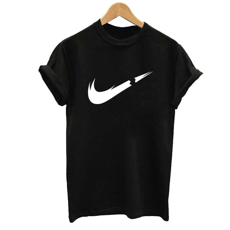 Brand LOGO Print Cotton Short Sleeve T Shirt Women's T-Shirt Top Black T-Shirts Women 2019 Summer Casual Loose Kawaii Female