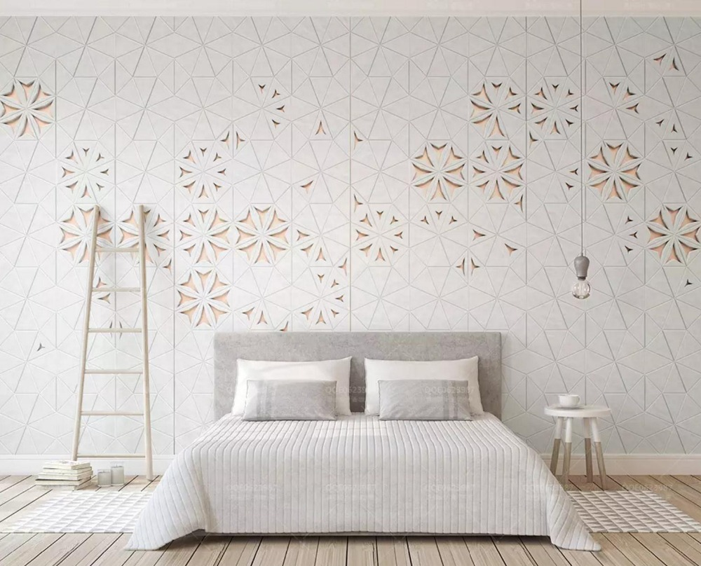 [Self-Adhesive] 3D Geometric Line Art Floral 5 Wall Paper Mural Wall Print Decal Wall Murals