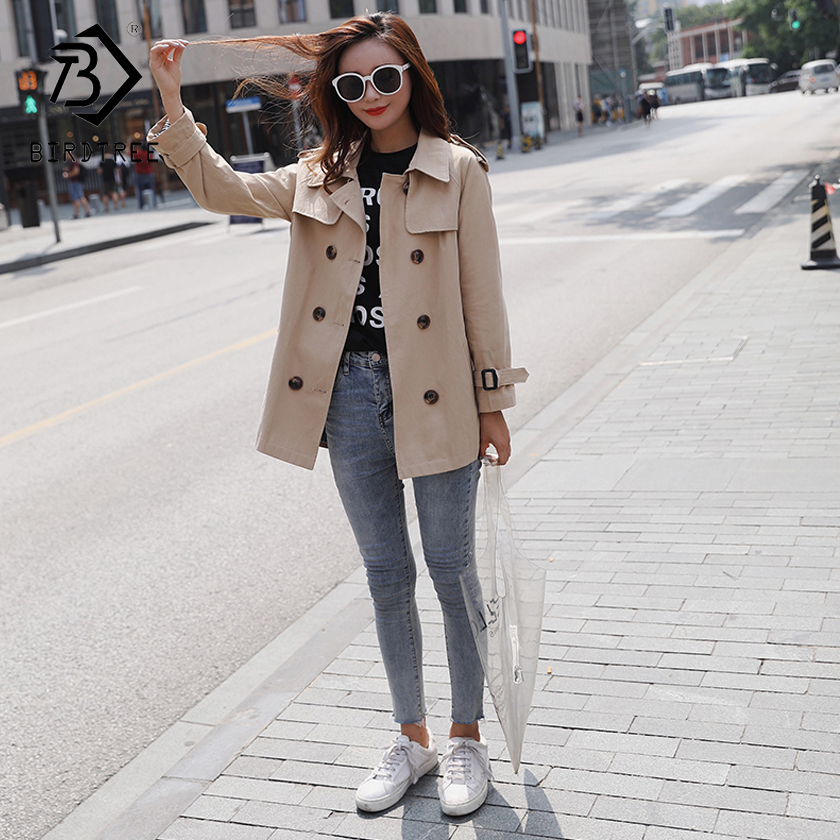 Women's 2018 New Solid   Trench   Full Sleeve Turn-down Collar Slash Solid Double Breasted Korean Style Loose Outerwear C87915LD