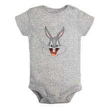 Cartoon Rabbit Cute Bugs Bunny and Black Cat Arrogant Duck Design Newborn Baby Outfits Jumpsuit Print Infant Bodysuit Clothes(China)
