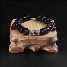 b9f4dda9f31c Hecho a mano Natural oscuro lijadora de madera pulsera Budismo Tibetano  amuleto Om Mani Padme Hum pulsera para hombre mujer puls.