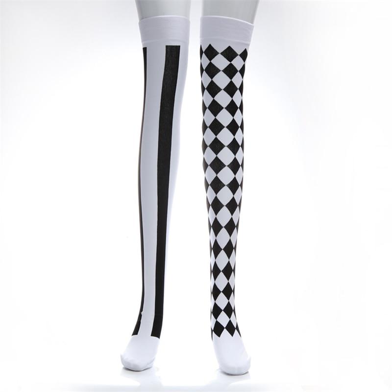 Calcetines de fiesta de Carnaval payaso jugando a las cartas medias hasta el muslo Sexy chica Plaid japonés Lolita Harajuku calcetines hasta la rodilla