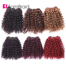Short Afro Kinky Curly Hair Bundles Synthetic Hair Wefts 3 Bundles Blended Bohemian Style 8 Inches Ombre Hair Weaves(China)