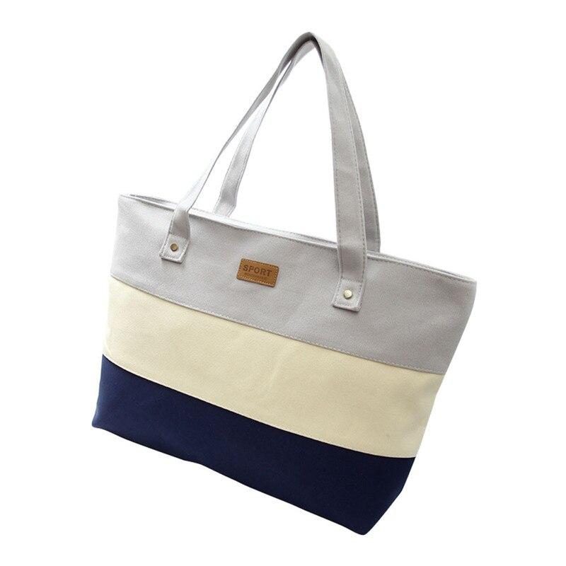 2017 Hot Women Ladies Stripes Canvas Shopping Bags Fashion Ladies Shoulder Messenger Bag Summer Beach Handbag
