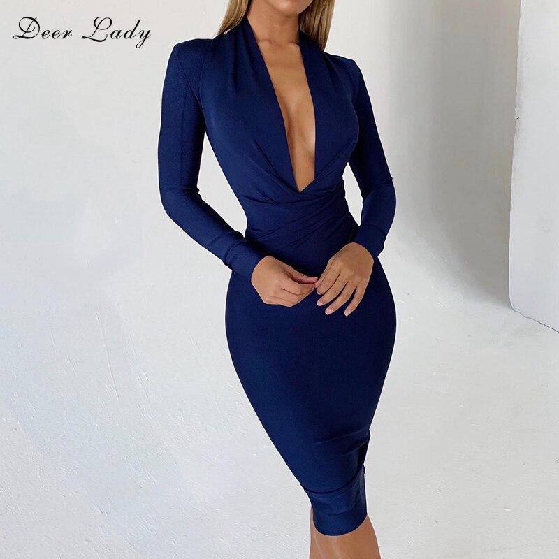 DeerLady Bandage Dresses 2019 New Arrivals Xmas Women White Bandage Dress Long Sleeve Winter V Neck