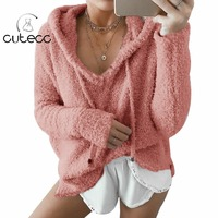 Spring Casual Basic Tops Women Fluffy Hooded Long Sleeve Casual Loose Hoodies Blusas Femme Solid Candy