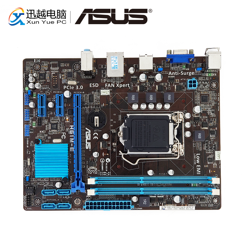 Asus H61M-E Desktop Motherboard H61 Socket LGA 1155 For Core I3 I5 I7 DDR3 16G SATA2 USB2.0 Micro ATX Original Used Mainboard