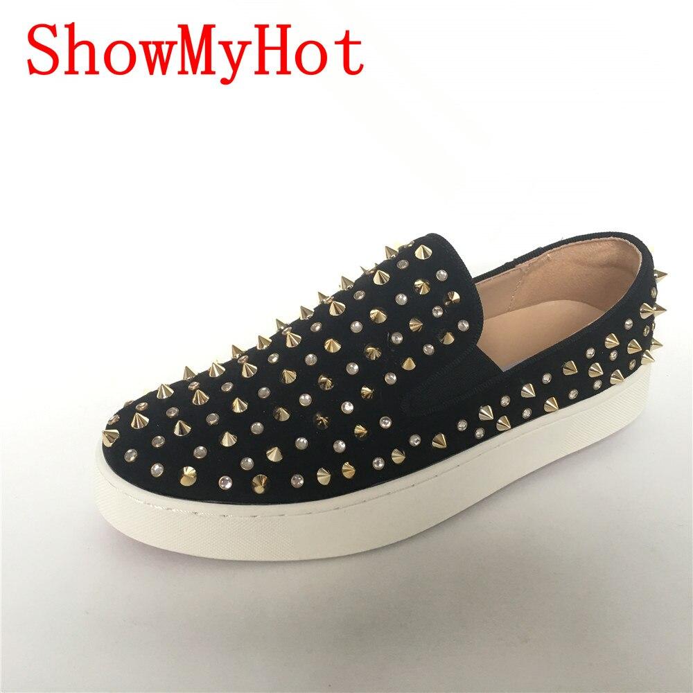 Ayakk.'ten Vulkanize Kadın Ayakkabıları'de ShowMyHot yüksek kaliteli bayan flats ayakkabı Moda perçinler kadın loafer'lar rahat kadın slip on kadın platformu Yuvarlak Ayak ayakkabı'da  Grup 1