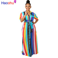 HAOOHU Colorful Rainbow Striped Loose Maxi Dress Women Autumn Button Up Pockets Elegant Party Dresses Casual Long Shirt Dress
